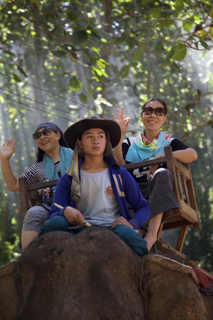 Chinese tourists elephant-back